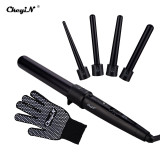 CkeyiN 5 in 1 Multifunction Interchangeable All Curls Hair Wand Curler Set