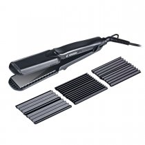 CkeyiN 4-in-1 Interchangeable Plates Hair Straightener & Crimping Iron Crimper Hair Styling Tool