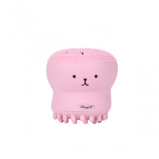 CkeyiN Silicone Facial Cleaning Brush Manual Facial Cleaner Massager in Cartoon Octopus Pattern
