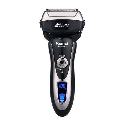 CkeyiN Rechargeable Washable Reciprocating Razor Floating Electric Shaver Four Blades with LCD Display