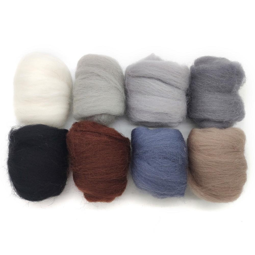 c Eco-Friendly Super Soft Natural Artec360 8 Pack Needle Felting Wool Roving Total 2.8 OZ Merino Wool 70S 19 Microns