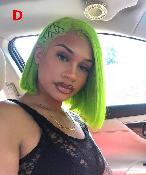 Ulovewigs Pre Plucked Human Virgin Hair green Color bob wigs for black women Free Shipping(ULW0023)