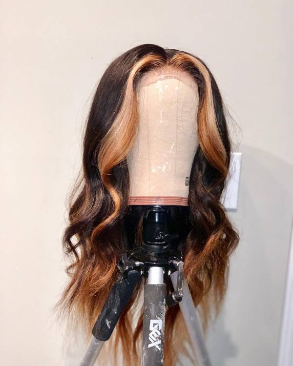Ulovewigs Human Virgin Hair Ombre Wave Pre Plucked Lace Front Wig Free Shipping (ULW0032)