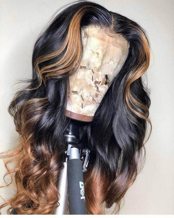 Ulovewigs Human Virgin Hair Ombre Honey Blonde Pre Plucked Lace Front Wig  Free Shipping (ULW0030)