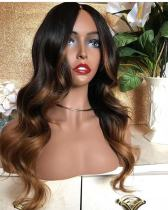Ulovewigs Human Virgin Hair Ombre Wave Pre Plucked Lace Front Wig  Free Shipping (ULW0033)