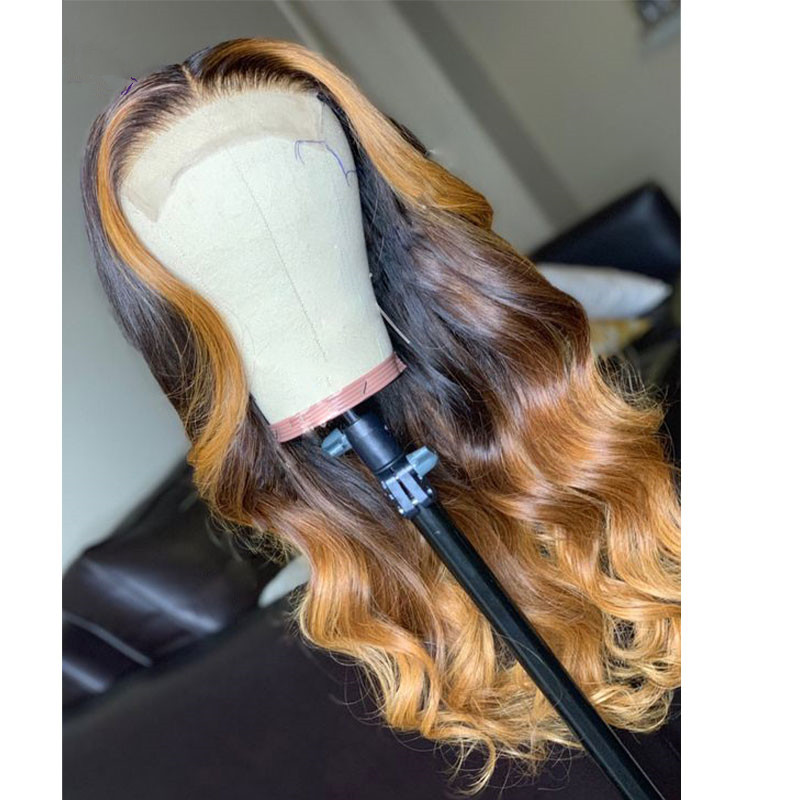 Ulovewigs Human Virgin Hair Ombre Wave Pre Plucked Lace Front Wig  Free Shipping (ULW0029)