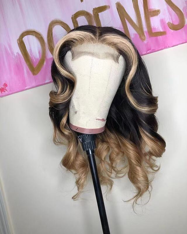 Ulovewigs Human Virgin Hair Ombre Wave Pre Plucked Lace Front Wig  Free Shipping (ULW0031)
