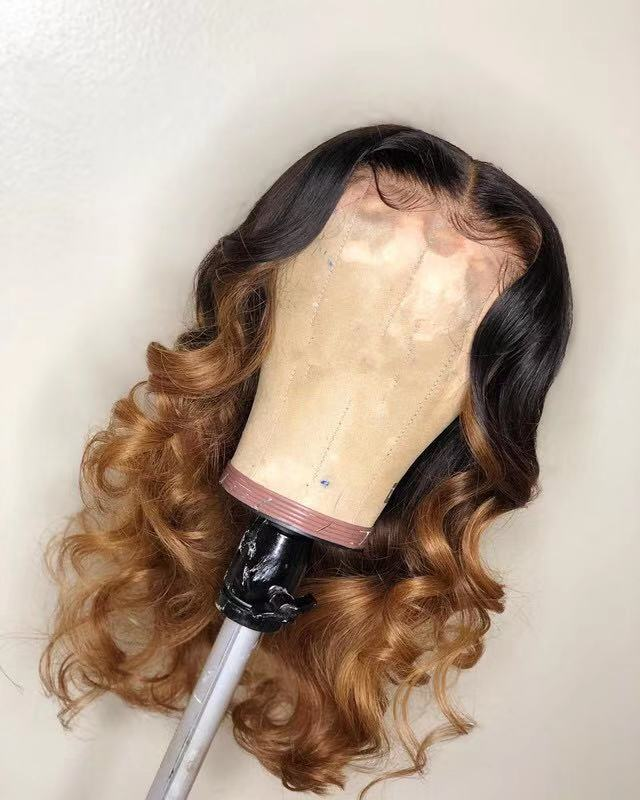 Ulovewigs Human Virgin Hair Ombre Wave Pre Plucked Lace Front Wig  Free Shipping (ULW0034)