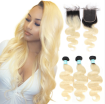 Ulovewigs 300% Density Pre Plucked 1b/613 Body Wave Closure Wigs Made By Human Hair Bundles and Clousure(4*4) With Free Shipping(ULW0070)