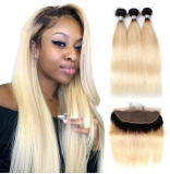 Ulovewigs 300% Density Pre Plucked Closure Wigs Made By Human Hair 1b/613 Bundles and Frontal(13*4) With Free Shipping (ULW0059)