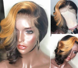 Ulovewigs Human Virgin Hair Caramel swirls Pre Plucked Lace Front Wig  Free Shipping (ULW0095)