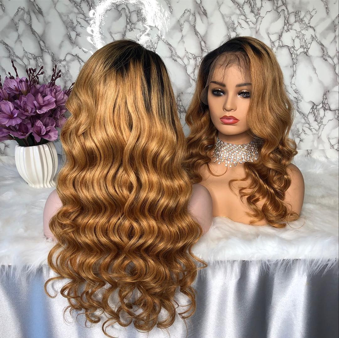 Ulovewigs Human Virgin Hair Pre Plucked Lace Front Wig  Free Shipping(ULW0098)
