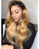 Ulovewigs Human Virgin Hair Pre Plucked 1b/27 Color Lace Front Wig  Free Shipping(ULW0103)
