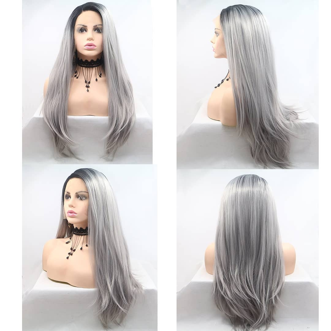 Ulovewigs Human Virgin Hair Gray Pre Plucked Lace Front Wig And Full Lace Wig For Black Woman Free Shipping (ULW0113)