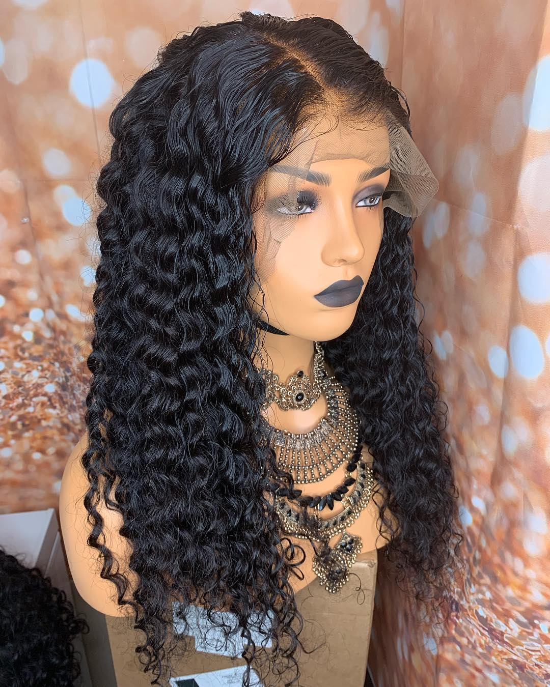 Ulovewigs Human Virgin Hair Loose Curl Pre Plucked Lace Front Wig For Black Woman Free Shipping(ULW0121)