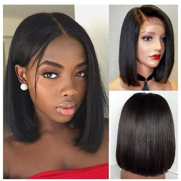 Ulovewigs Pre Plucked Human Virgin Hair black bob wigs (ULW0011)