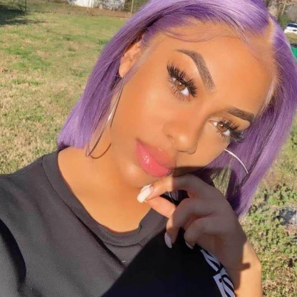 Ulovewigs Pre Plucked Human Virgin Hair purple Color bob wigs for black women Free Shipping(ULW0120)