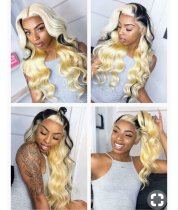 Ulovewigs  Human Virgin Hair 1b/613 Pre Plucked Lace Front Wig And Full Lace Wig For Black Woman Free Shipping (ULW0136)