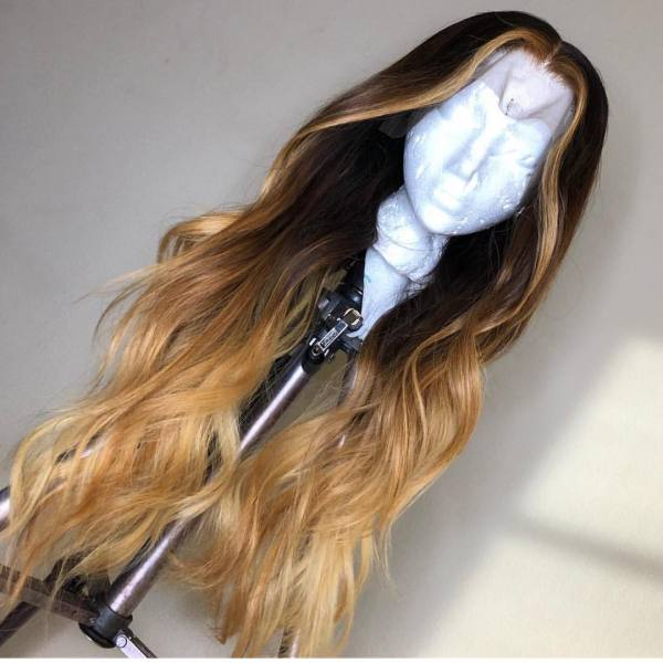 Ulovewigs Human Virgin Hair Ombre Wave Pre Plucked Lace Front Wig And Full Lace Wig For Black Woman Free Shipping (ULW0140)