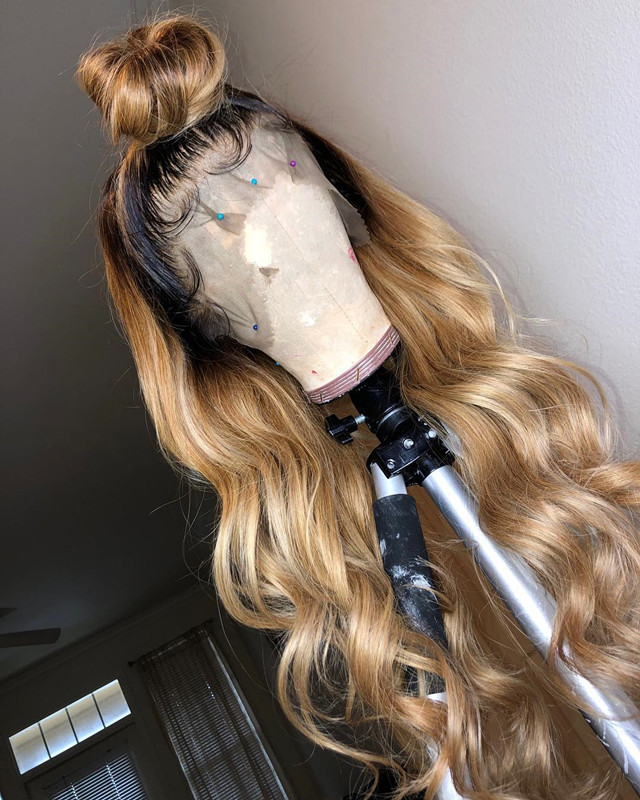 Ulovewigs Human Virgin Hair Ombre Wave Pre Plucked Lace Front Wig And Full Lace Wig For Black Woman Free Shipping (ULW0149)