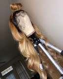Ulovewigs Human Virgin Hair Ombre Wave Pre Plucked Lace Front Wig  Free Shipping (ULW0149)