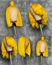Ulovewigs Pre Plucked Human Virgin Hair yellow Color bob wigs  Free Shipping(ULW0019)