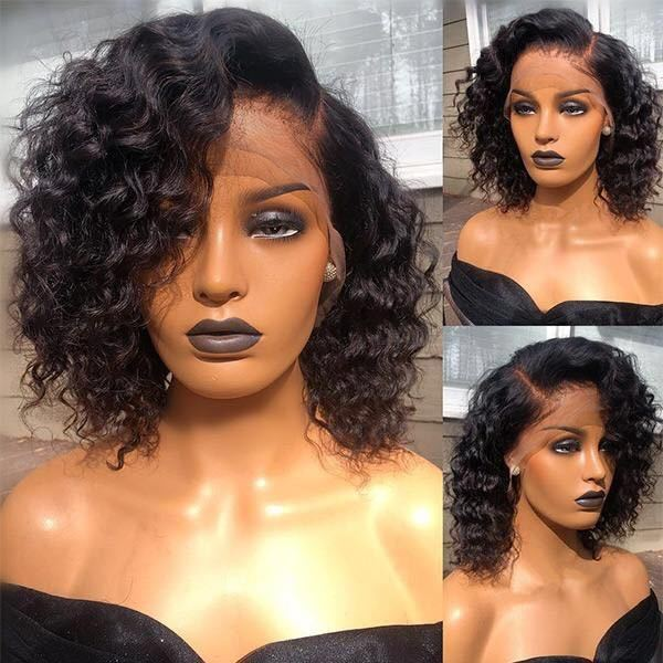 Ulovewigs Human Virgin Hair Curly bob Pre Plucked 13*4 Lace Front Wig  Free Shipping(ULW0037)