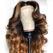 Ulovewigs Human Virgin Hair Ombre Wave Pre Plucked Lace Front Wig  Free Shipping (ULW0163)