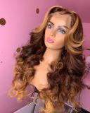 Ulovewigs Human Virgin Hair Ombre Wave Pre Plucked Lace Front Wig  Free Shipping (ULW0170)
