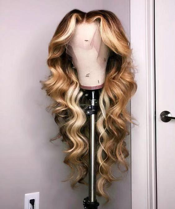 Ulovewigs Human Virgin Hair Ombre Wave Pre Plucked Lace Front Wig  Free Shipping (ULW0185)