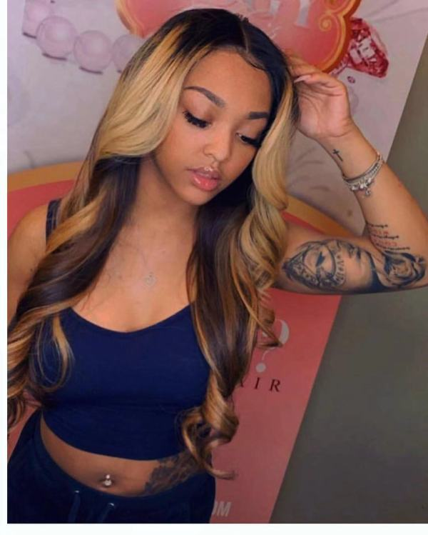 Ulovewigs Human Virgin Hair Ombre Wave Pre Plucked Lace Front Wig  Free Shipping (ULW0186)