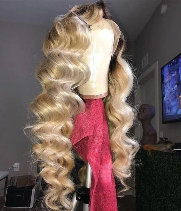 Ulovewigs Human Virgin Hair Ombre Honey Blonde Pre Plucked Lace Front Wig  Free Shipping (ULW0193)