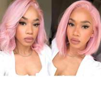 Ulovewigs Pre Plucked Human Virgin Hair  Light Pink  bob wigs (ULW0016)