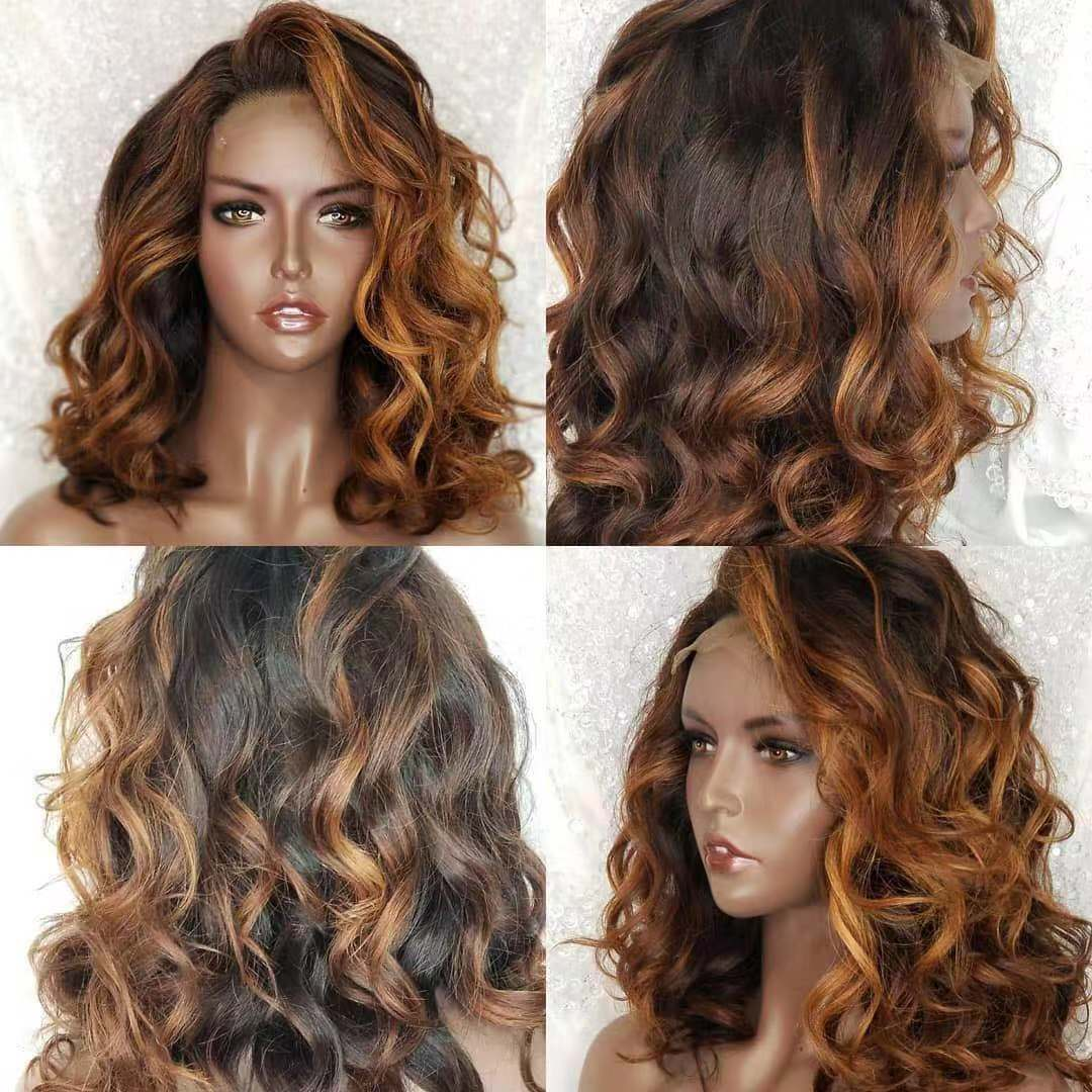 Ulovewigs Human Virgin Hair Pre Plucked Lace Front Wig  Free Shipping (ULW0218)