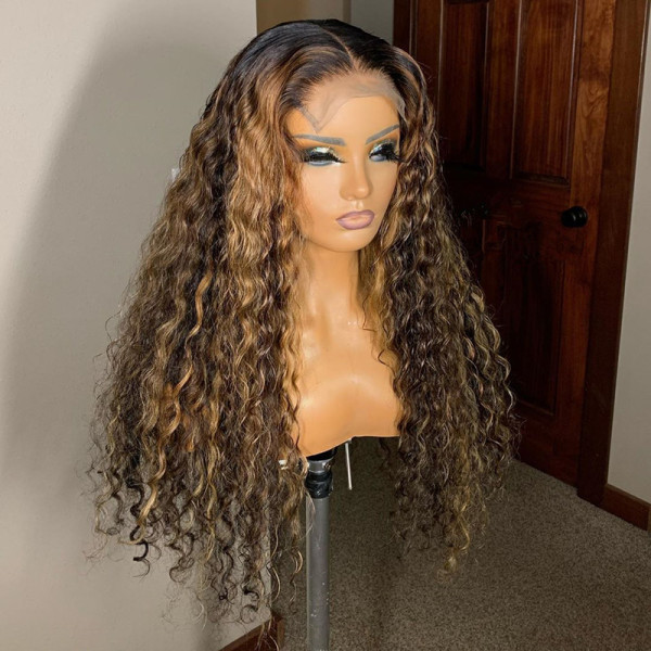 Ulovewigs Human Virgin Hair Pre Plucked Lace Front Wig  Free Shipping (ULW0332)