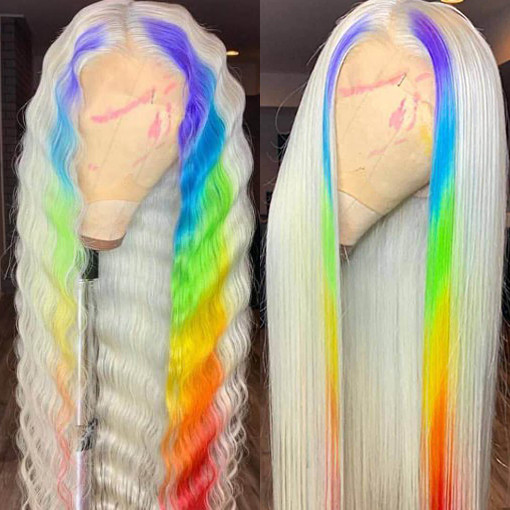Ulovewigs Colour Profusion Human Virgin Hair Ombre Wave Pre Plucked Lace Front Wig And Full Lace Wig Free Shipping (ULW0134)