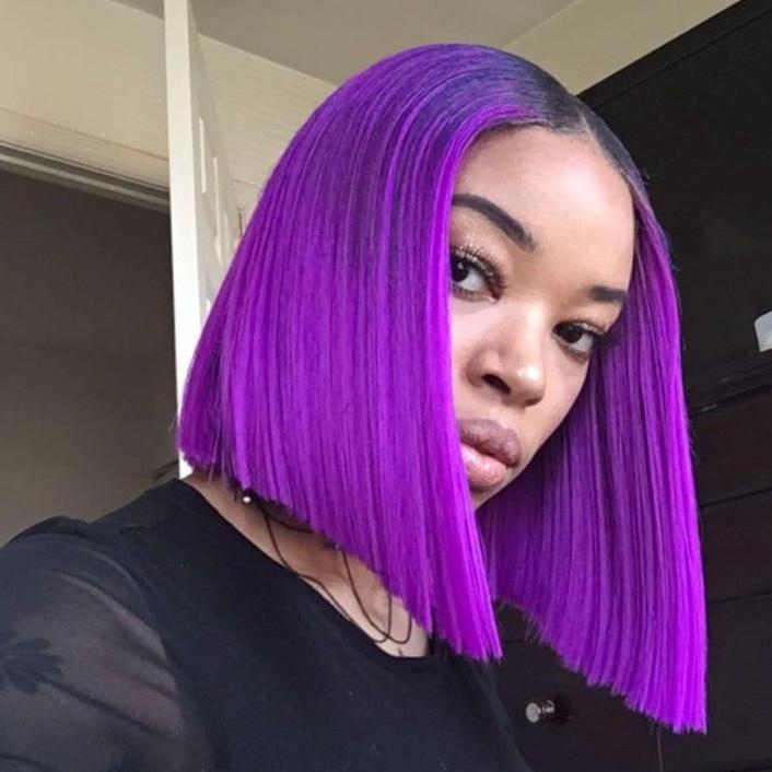 Ulovewigs Pre Plucked Human Virgin Hair  purple Color  bob wigs Free Shipping(ULW0020)