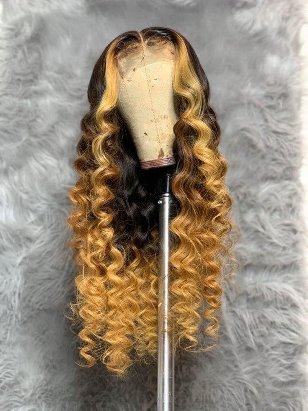 Ulovewigs Human Virgin Hair Pre Plucked Lace Front Wig  Free Shipping (ULW0390)
