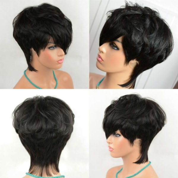 Ulovewigs Human 1#color Virgin Hair Pre Plucked  Full Lace Wig short bob Free Shipping (ULW0444)