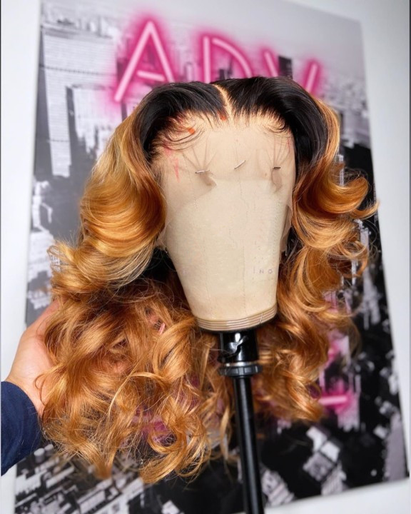 Ulovewigs Human Virgin Hair Pre Plucked Lace Front Wig  Free Shipping (ULW0448)