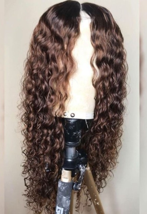 Ulovewigs Human Virgin Hair Loose deep Curl Pre Plucked Lace Front Wig  Free Shipping(ULW0449)
