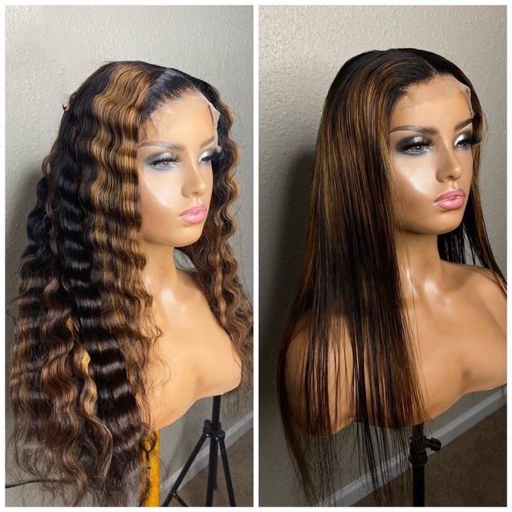 Ulovewigs Human Virgin Hair Pre Plucked Lace Front Wig And Full Lace Wig  Free Shipping (ULW0513)