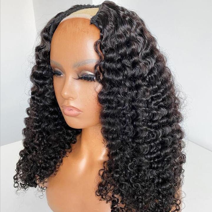 Ulovewigs Human Virgin Hair Pre Plucked U Part Wig Free Shipping (ULW0517)