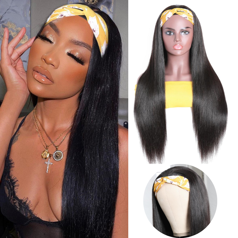 Ulovewigs Straight Wigs with Headbands for  Women Human Hair Wigs Free Shipping (ULW0519)