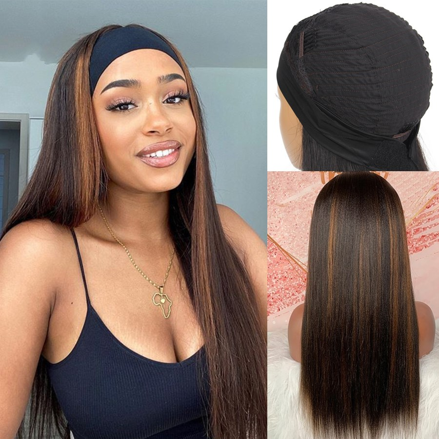 Ulovewigs Straight Wigs with Headbands for  Women Human Hair Wigs Free Shipping (ULW0522)