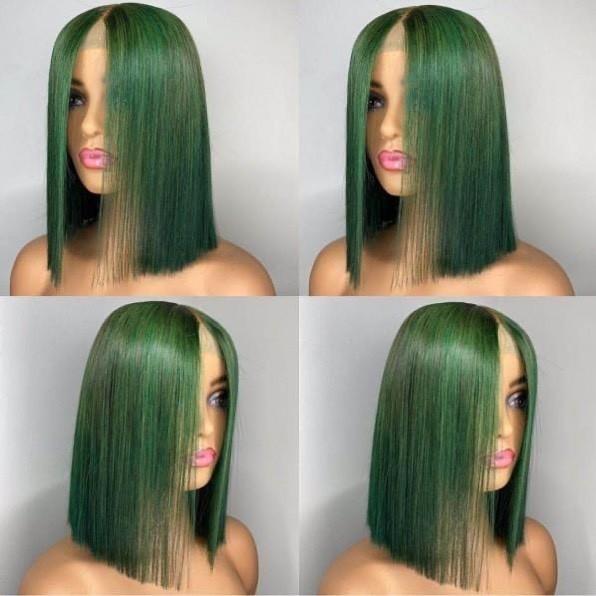 Ulovewigs Pre Plucked Human Virgin Hair green Color bob wigs Free Shipping(ULW0023)