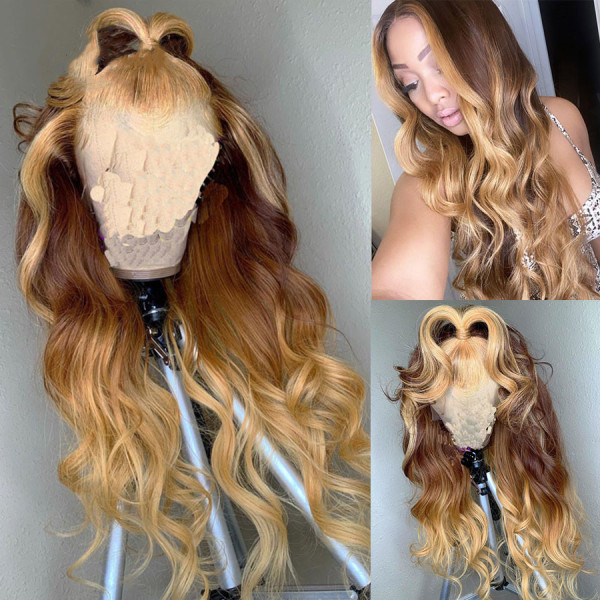 Ulovewigs Human Virgin Hair Wave Pre Plucked Lace Front Wig  Free Shipping (ULW0063)