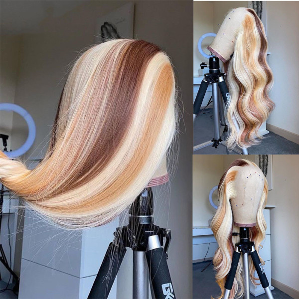 Ulovewigs Human Virgin Hair Pre Plucked Lace Front Wig  Free Shipping(ULW0068)