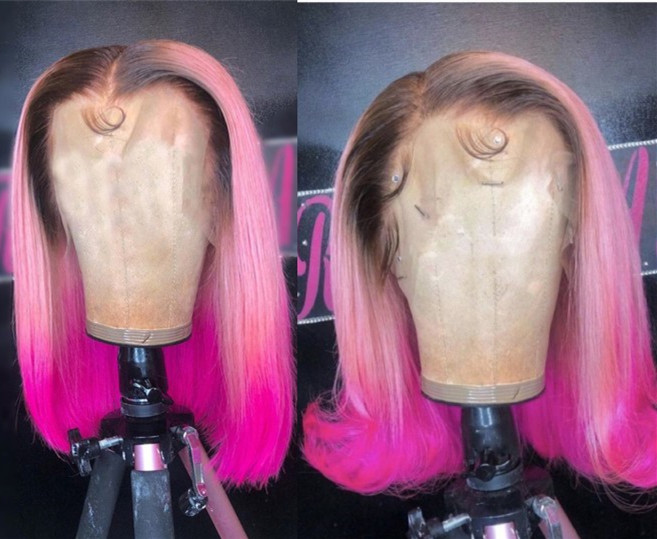 Ulovewigs Pre Plucked Human Virgin Hair Lace Front Wig Pink Color Bob wigs Free Shipping(ULW0043)