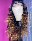 Ulovewigs Human Virgin Hair Ombre Wave Pre Plucked Lace Front Wig  Free Shipping (ULW0107)